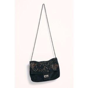 NWOT FP Black Studded Slouchy Suede Shoulder Bag